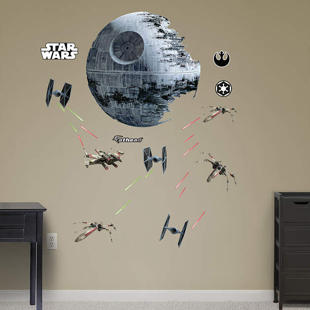 death star battle wall decal shop fathead for star wars movies decor. Black Bedroom Furniture Sets. Home Design Ideas