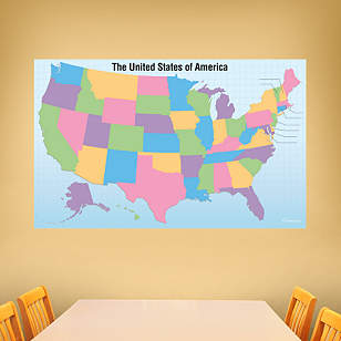 Dry Erase USA Map With Removable State Names