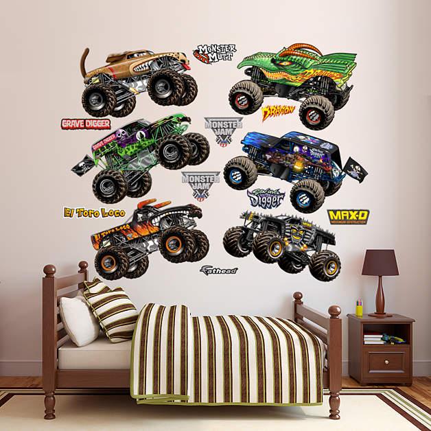 Cartoon Monster Jam Trucks Collection Wall Decal   Shop ...