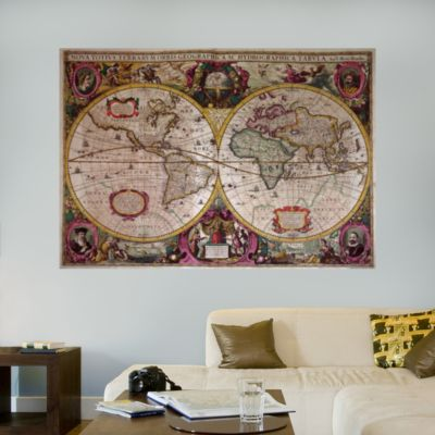 A New Land and Water Map of the Entire Earth by Henricus Hondius Fathead Wall Decal