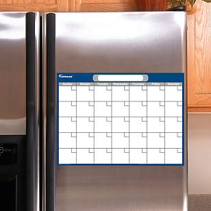 Navy & Gray Dry Erase Small Blank Month Calendar