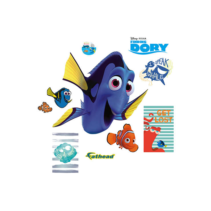 Nemo and dory finding dory fathead jr wall decal shop for Finding dory wall decals