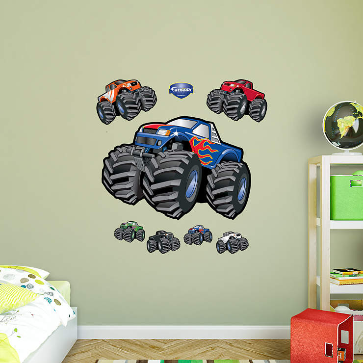 monster trucks wall decal shop fathead for general kids