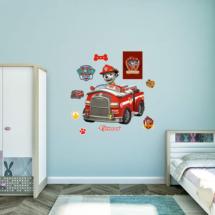 Marshall 39 s fire truck wall decal shop fathead for paw for Fire truck bedroom ideas