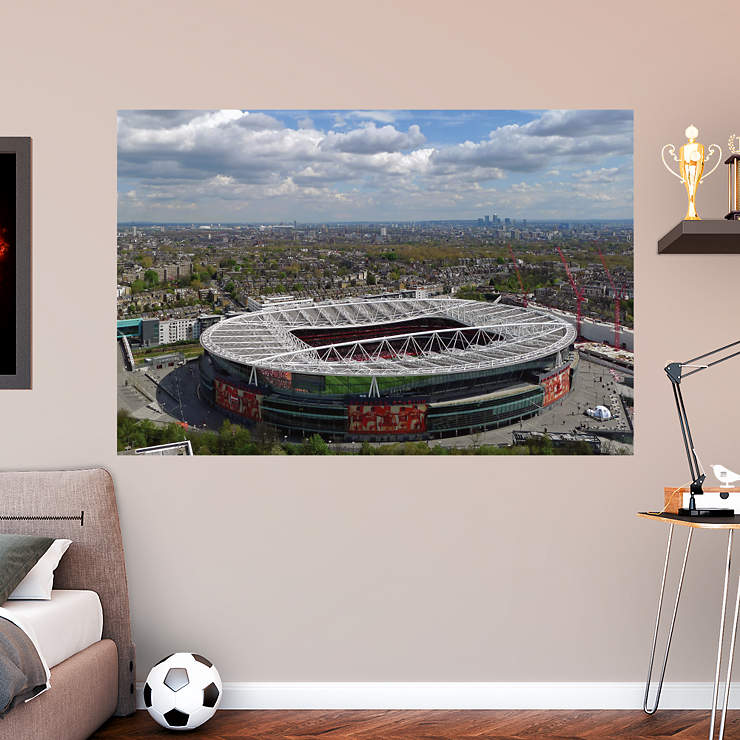 Aerial emirates stadium mural wall decal shop fathead for Emirates stadium mural