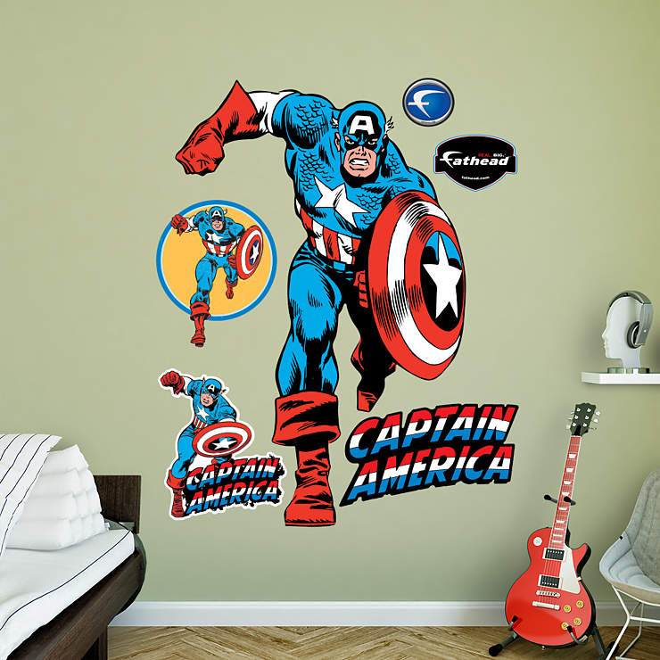 Life size captain america wall decal shop fathead for Captain america wall decor
