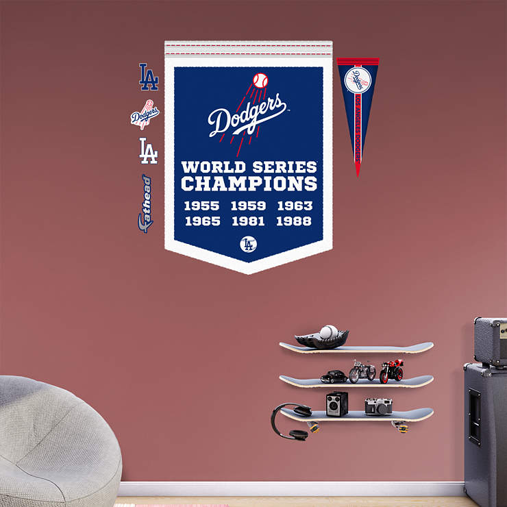 Los angeles dodgers world series champions banner wall for Dodger stadium wall mural