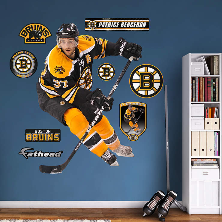 Life size patrice bergeron wall decal shop fathead for Bruins room decor