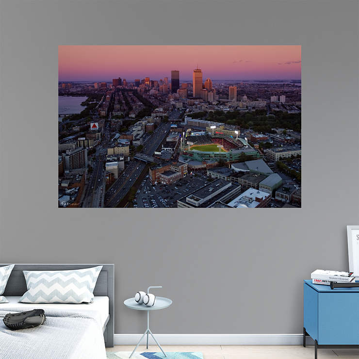 Fenway park skyline mural wall decal shop fathead for for Boston wall mural