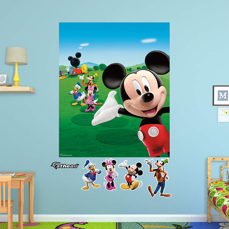 mickey mouse clubhouse mural wall decal shop fathead. Black Bedroom Furniture Sets. Home Design Ideas