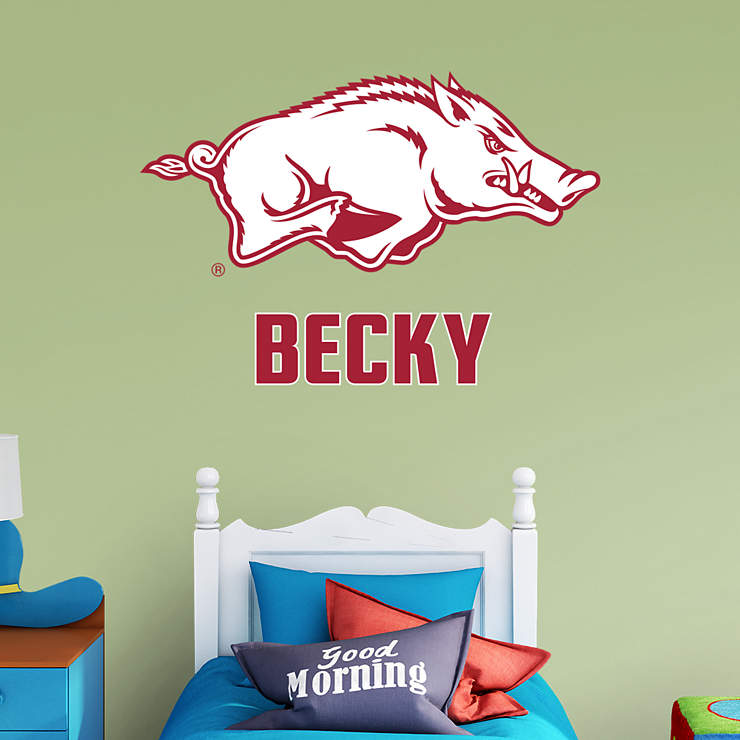 Razorback Classroom Decor : Arkansas razorbacks logo personalized name wall decal