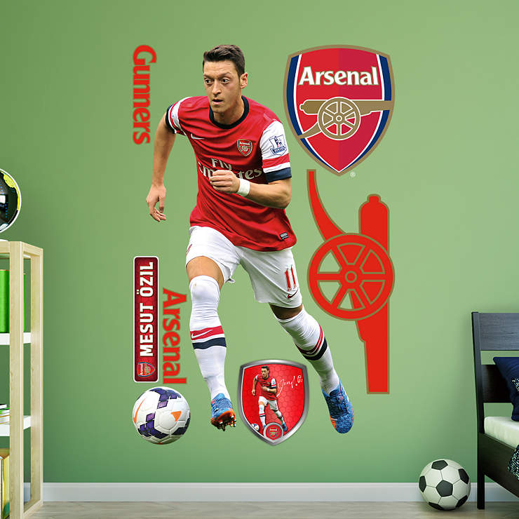 Life size mesut zil wall decal shop fathead for for Arsenal mural emirates