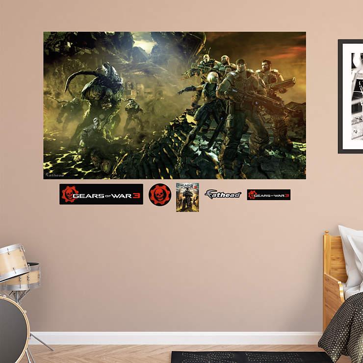 Gears of war 3 battle mural wall decal shop fathead for Siege mural rabattable