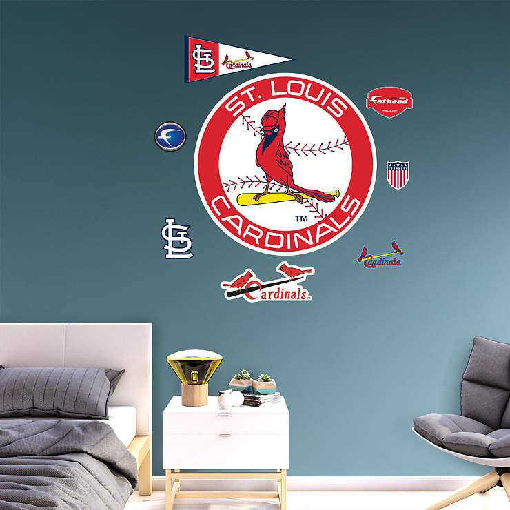 st louis cardinals classic logo wall decal shop fathead. Black Bedroom Furniture Sets. Home Design Ideas