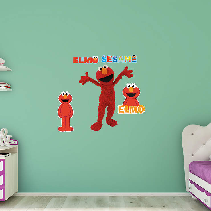 elmo wall decal shop fathead for sesame street decor. Black Bedroom Furniture Sets. Home Design Ideas