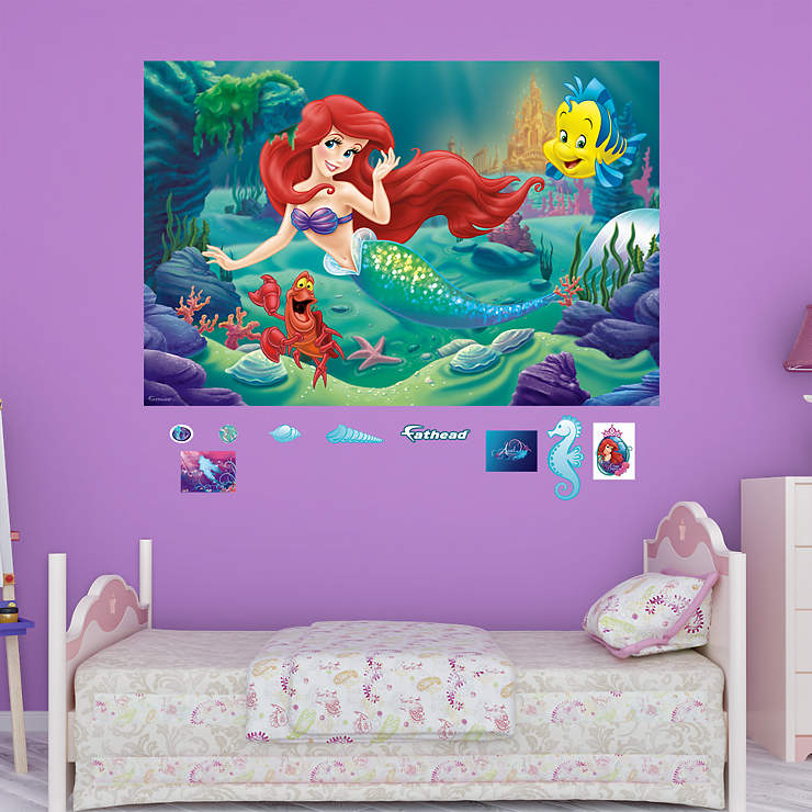 the little mermaid mural wall decal shop fathead for disney