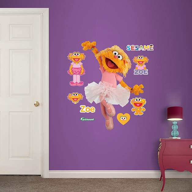 zoe fathead jr wall decal shop fathead for sesame street wall graphics. Black Bedroom Furniture Sets. Home Design Ideas