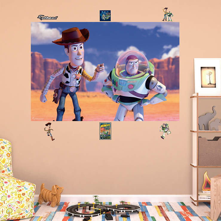 Woody buzz mural wall decal shop fathead for toy for Buzz lightyear wall mural