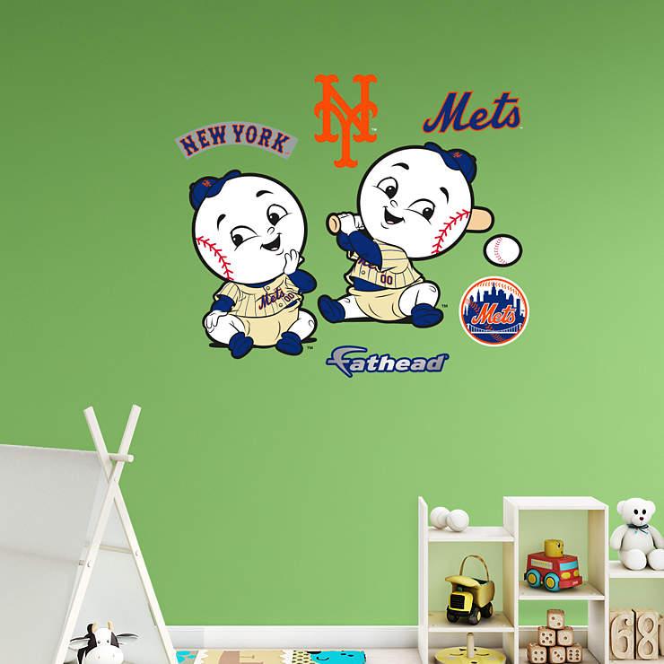 Kids Childrens Football Field 100 X 133cm: New York Mets Mascot - Rookie League Wall Decal