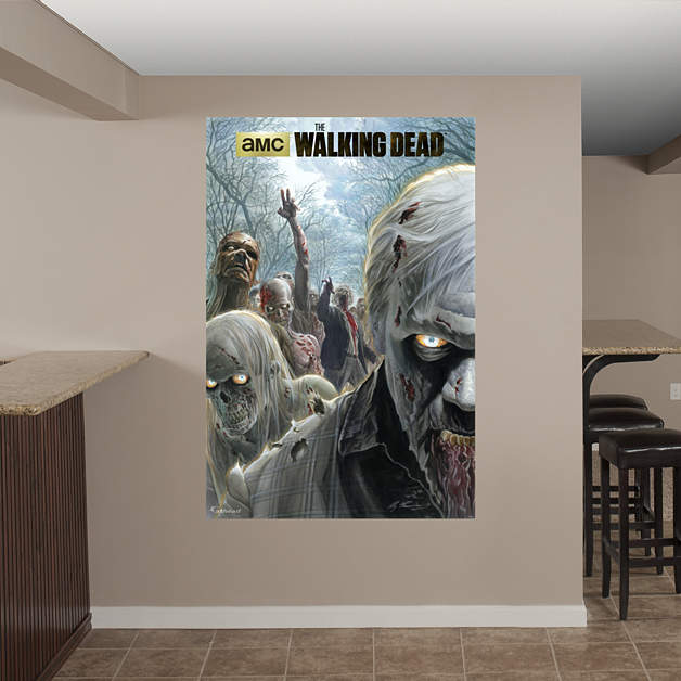 Mural Walking Dead Of Illustrated Walkers Mural Fathead Wall Decal