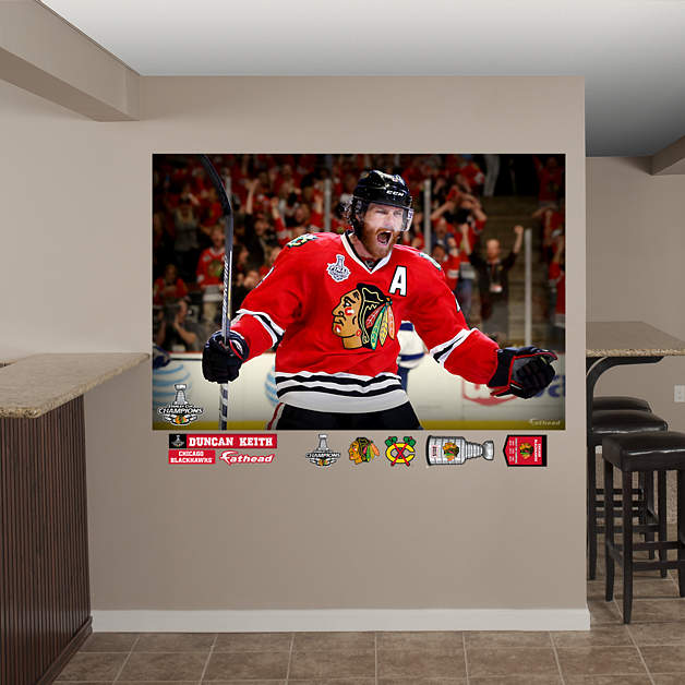 Duncan keith 2015 stanley cup goal celebration mural wall for Blackhawks mural chicago
