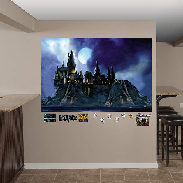 Hogwarts castle mural wall decal shop fathead for harry for Castle wall mural sticker