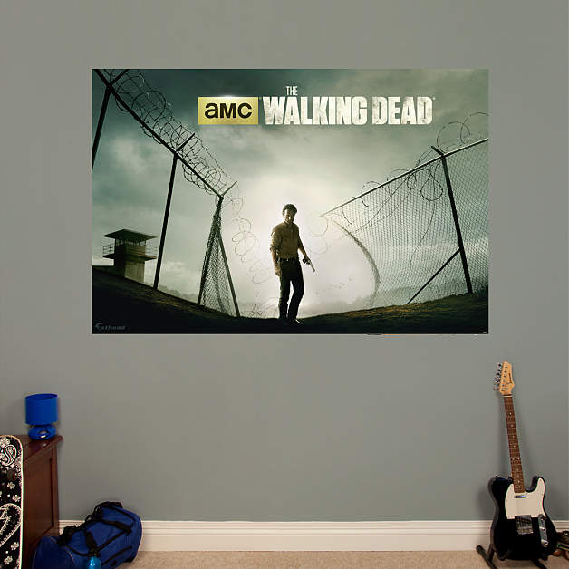Rick grimes prison fence mural fathead wall decal for Mural walking dead