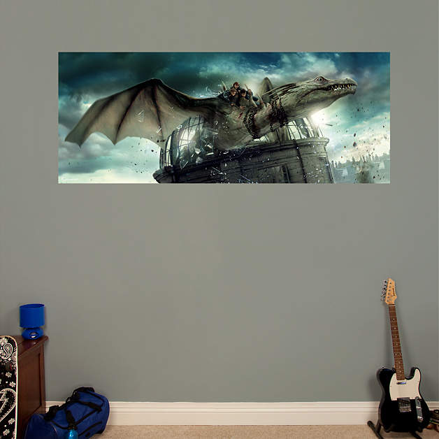 Deathly hallows dragon mural wall decal shop fathead for Dragon mural for wall