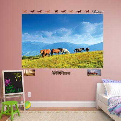 Wild Horses Grazing Mural