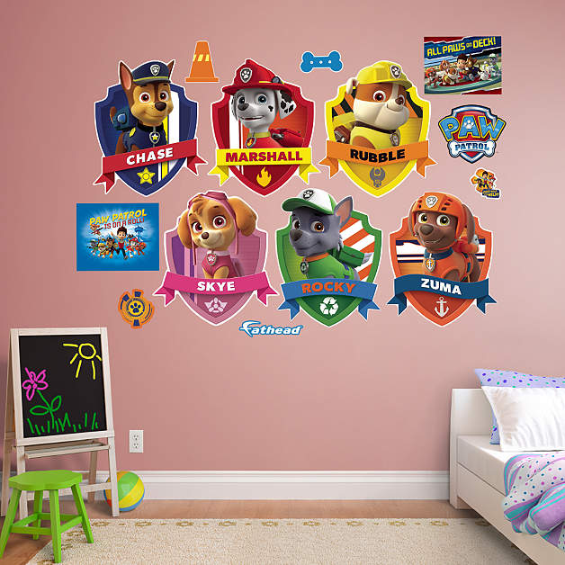paw patrol shields collection wall decal shop fathead. Black Bedroom Furniture Sets. Home Design Ideas