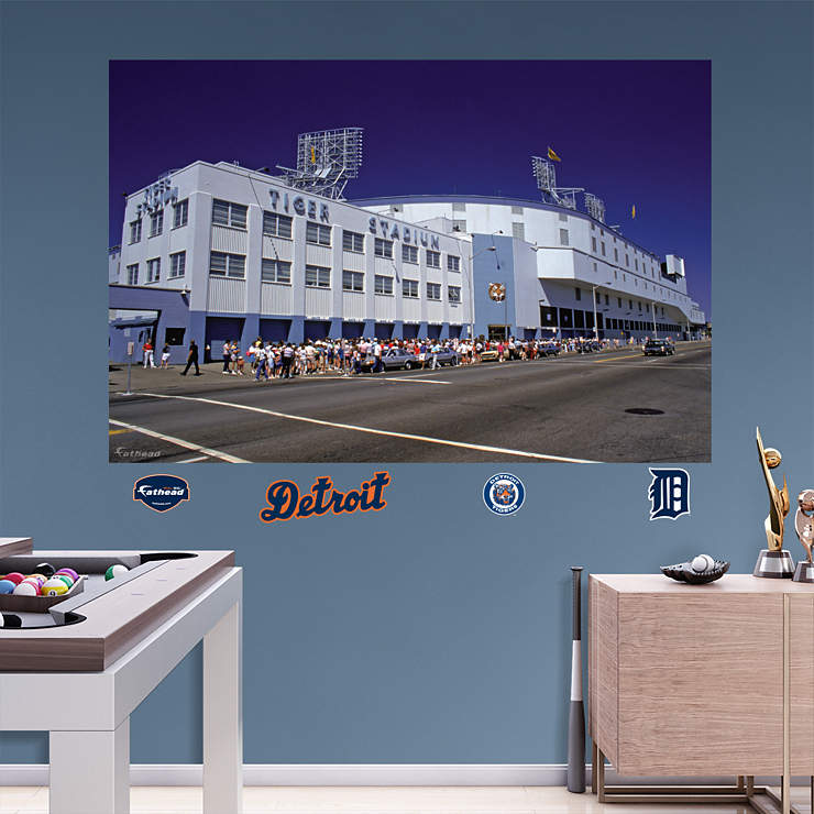 Outside tiger stadium mural wall decal shop fathead for for Comerica park wall mural