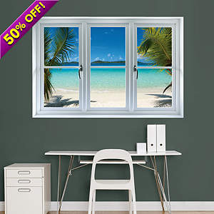Virgin Islands Beach: Instant Window Fathead Wall Decal