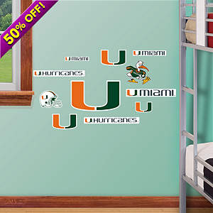 Miami Hurricanes - Team Logo Assortment Fathead Wall Decal