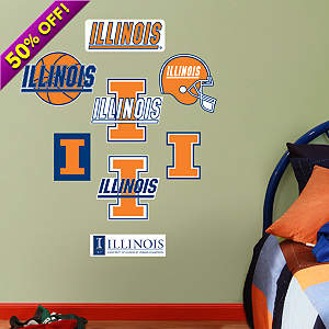 Illinois Fighting Illini - Team Logo Assortment Fathead Wall Decal