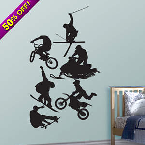 Assorted Action Sports Silhouettes Fathead Wall Decal