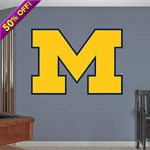 "Michigan Wolverines ""Block M"" Logo Fathead Wall Decal"