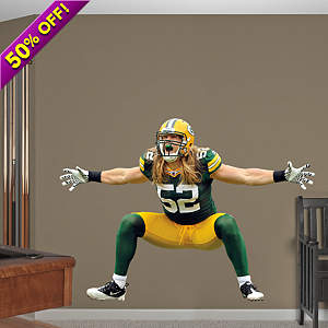 Giant, vinyl wall decal of Clay Matthews