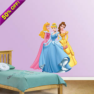 Aurora, Cinderella & Belle Fathead Wall Decal