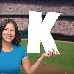 "Strikeout ""K"" Big Head Cut Out"