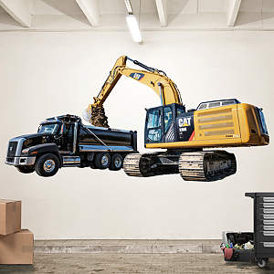 Cat Excavator and Highway Truck Fathead Wall Decal