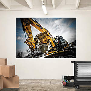 Cat Excavator Mural Fathead Wall Decal