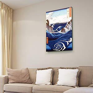 View of the Naruto Whirlpools at Awa by Hiroshige - Canvas Print