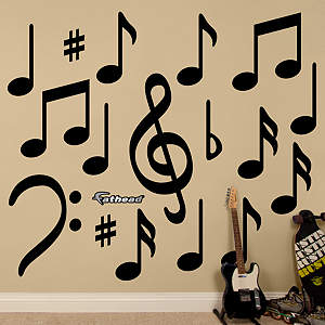 Black Music Notes Fathead Wall Decal