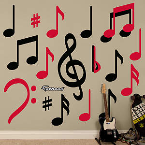 Black & Red Music Notes Fathead Wall Decal