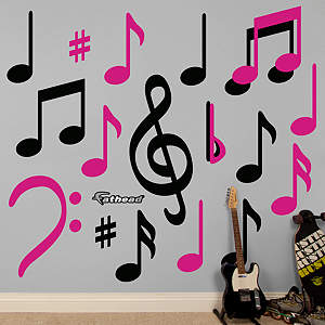 Black & Hot Pink Music Notes Fathead Wall Decal