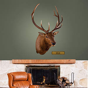 Mounted Elk Head Fathead Wall Decal
