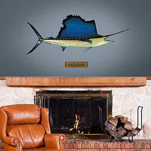 Mounted Sailfish Fathead Wall Decal