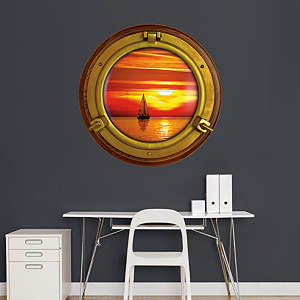 Sunset Sailboat: Porthole Fathead Wall Decal