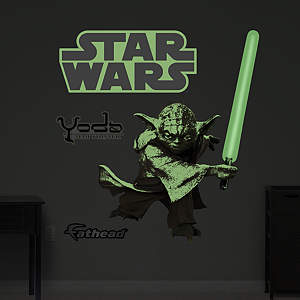 Glow in the Dark Yoda Fathead Wall Decal