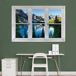 Mountain side faux window wall decal